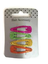 4 x Neon Glittery Hair Snap Bendies Hair Clip Grips Ladies Girls Mini Sized 3 cm
