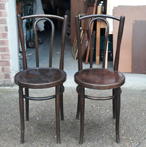 Pair Of Thonet Style Bentwood Bistro Chairs With Pressed Art Nouveau Seats