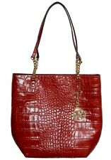 NWT Michael Kors MK Leather Tote Jet Set Chain NS Bag Womens Handbag Croco Red