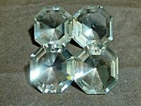 """4 Crystals Prisms w/ Two Holes Chandelier Octagon Faceted 1.25"""" European"""