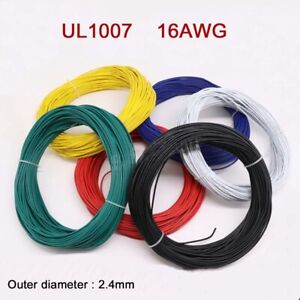 16AWG Flaxible Stranded Electronic Wire O.D 2.4mm UL1007 PVC Cable 12-Colors
