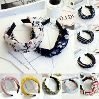 Ladies Tie Headband Hairband Bow Knot Cross Solid Hair Bands Hoop Accessories