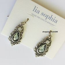 """Lia Sophia """"Heirloom"""" Antique Silver Tone with Cut Crystals Earrings"""