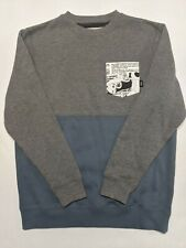 Vans New Classic Pullover Crew Sweatshirt Youth Boy's Medium Black Gray