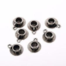 Tea coffee cup saucer Tibetan Silver 3D Bead charms Pendants fit bracelet 8pcs
