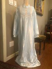 Ladies Komar Long Nightgown, Pale Blue Satin, Brushed Cotton, Size Medium, EUC!!