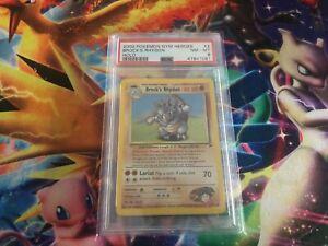 Pokemon Card 2000 GYM Heroes Set Brock's Rhydon Holo PSA 8 NEAR MINT 2/132