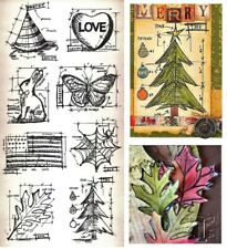 Tim Holtz Blueprints Rubber Stamps - Easter, America, Halloween, Christmas, Love