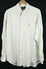 Ralph Lauren Mens Shirt sz XL White Silk Linen Blend Long Sleeve Button up