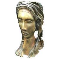 Mediados de Siglo Modern Terracota Escultura Of a Woman Face, 1950