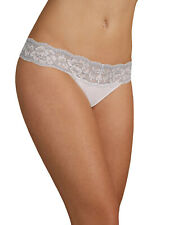 Ladies Marks & Spencer White &Blue Louisa Lace Cotton Blend Thong - Size 6 to 16
