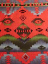 NAVAJO INDIAN NATIVE AMERICAN DEEP RED GREEN FLEECE FABRIC OOP