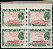 CHILE 1940 STAMP # 265 MNH BLOCK OF FOUR EASTER ISLAND SHIP