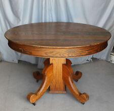 Antique Round Oak Table – original finish – 45″ diameter - with Leaves