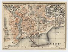 1919 ORIGINAL ANTIQUE CITY MAP OF BREST / BRITTANY BRETAGNE / FRANCE