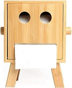 BAMBOO TISSUE PAPER ROLL HOLDER CREATIVE ROBOOT SMILEY FACE STORAGE BOX HOME