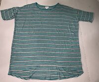 Lularoe Womens Large Teal And Gray Striped SIMPLY COMFORTABLE SHIRT