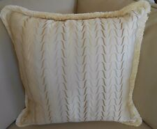 One NEW X-LARGE 55cm Hamptons CREAM WAVE Cushion cover with Thick Silky Fringe