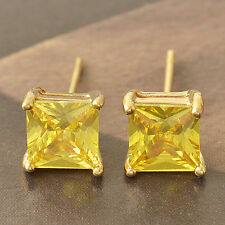 Green Cubic Zirconia 9K Yellow Gold Filled Ladies Stud Earrings F4112