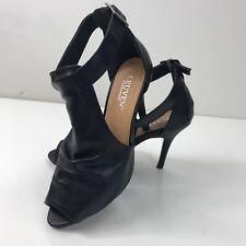 LEUVEN Alexander Women's Black Leather Open Toe Ankle Strap Heels Size 7.5