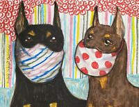 Doberman Pinscher in Quarantine Collectible ACEO PRINT Dog pop Art Card 2.5X3.5
