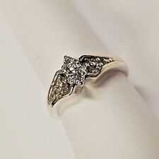 WOMENS STERLING SILVER DIAMOND RING SIZE 7
