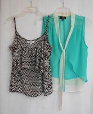 2 x Chiffon Style Tops/Blouses - Ice Fashion & Cotton On - Teal/Black/White Sz S