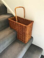 Lovely Brown Wicker Staircase Basket Rattan Handle Key Holder Shoe Storage Stair
