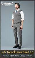 VORTOYS 1/6 V1022 Grey Gentleman Suit 3.0 Fit 12'' Male Narrow Shoulder Body