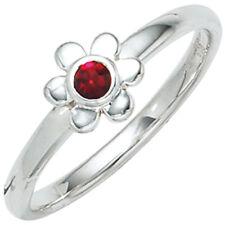 Kinder Ring Blume 925 Sterling Silber Rhodiniert 1 Glasstein rot Kinderring