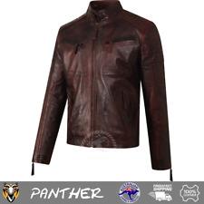 Pashmeer Panther Men's Caramel Brown Leather Vintage Biker Zipped Retro Jacket