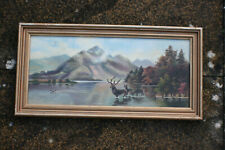 Original Seascape Mountain Reindeer Oil Painting on Canvas Board - Wooden Framed
