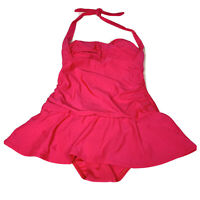 Swimsuits For All One Piece Womens Solid Pink Swimdress Size 12 Skirt Modest