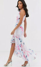 NEW🌷LIPSY🌷Size 16 Multi Blue Floral Print Halterneck Frill High Low Maxi Dress