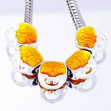 5Pcs Charms White GF Silver Orange Enamel Bag european Beads Fit DIY Bracelet