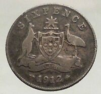1912 AUSTRALIA - SIXPENCE Antique SILVER Coin King George V Coat-of-Arms i57083