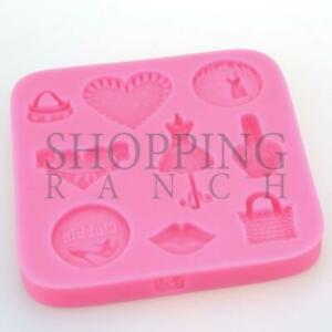 Love Heart Bag Lips Fashion Silicone Mould Cupcake Topper Mold Tool