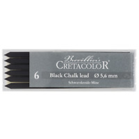 CRETACOLOR artist Mine black chalk, medium thickness, 5,6 mm, 6 pieces