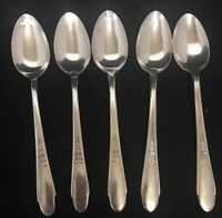Lot of 5 Rogers & Son IS WM Gardenia Silverplate Flatware Spoons A805-716