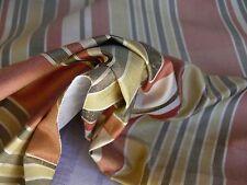 10Yd Kravet 100% Silk Taffeta Stripe Brick Red Charcoal Gold Stripe #1298
