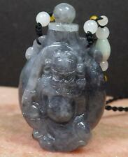 Certified 100% Natural A Jade jadeite Display Zhong Kui God Snuff Bottle 423637