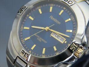 Armitron Men's Blue Dial All Stainless Quartz Watch 20/4305TT Day/Date