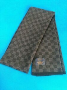 Louis Vuitton Damier Wool Scarf Black Petit Gray Made In Italy