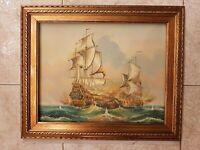 quadro dipinto a mano OLIO SU TELA cornice in legno foglia oro classico 49X59