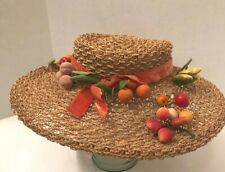 Vintage 1940's straw picture hat with fruit