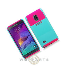 Samsung Galaxy Note 4 Hybrid 2 Tone Case Light Blue/Hot Pink Cover Shell Protect