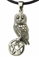 Bronze OWL and PENTAGRAM Pendant with Black Leather Cord Necklace Wiccan Pagan