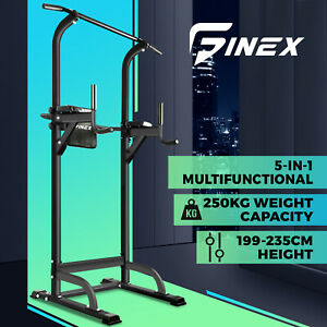 Finex Power Tower Chin Up Bar Weight Bench Push Pull Up Knee Raise Gym Station