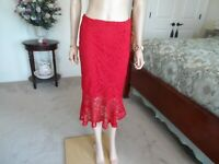New Zara Red Geipure Lace Skirt Size S