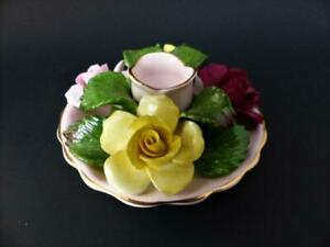 Vintage Porcelain Candle Holder Surrounded With A Posy Of Roses by Denton c 1945